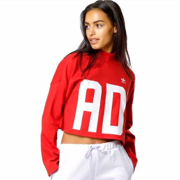 e60ac7c5 Adidas Originals Womens Crop HN Sweatshirt RED NWT